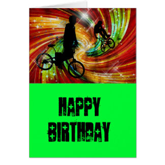 BMXers in Red and Orange Grunge Swirls Greeting Card
