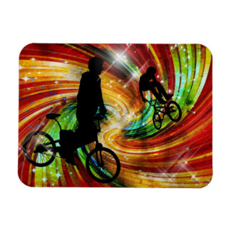 BMXers in Red and Orange Grunge Swirls Rectangular Photo Magnet