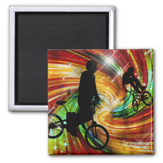 BMXers in Red and Orange Grunge Swirls Square Magnet
