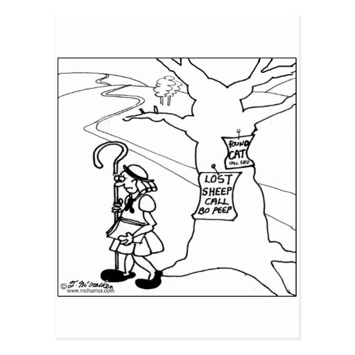 Bo Peep Posts Lost Sheep Sign Post Cards
