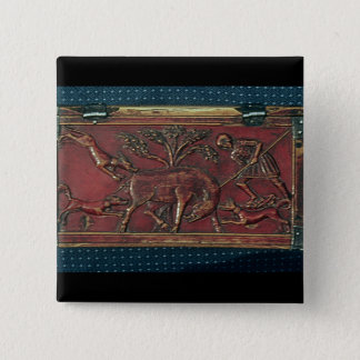 Boar Hunt, plaque from a Byzantine casket, 11th ce 15 Cm Square Badge
