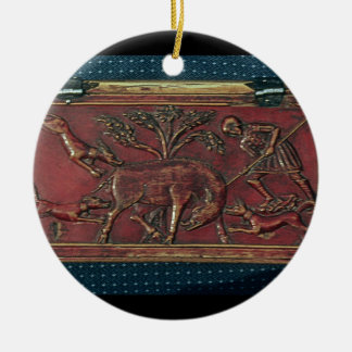 Boar Hunt, plaque from a Byzantine casket, 11th ce Christmas Ornament