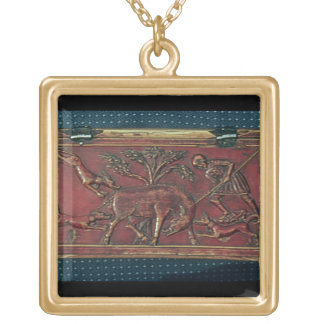 Boar Hunt, plaque from a Byzantine casket, 11th ce Gold Plated Necklace