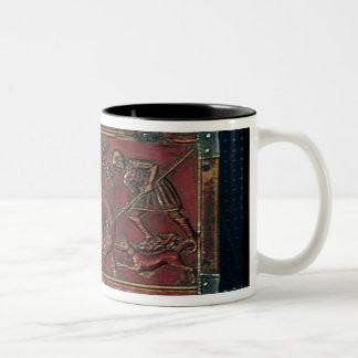 Boar Hunt, plaque from a Byzantine casket, 11th ce Two-Tone Coffee Mug
