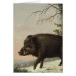 Boar Pig Vintage German Painting Greeting Card