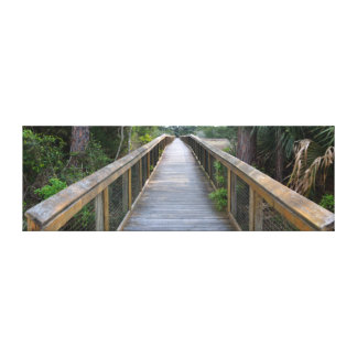 Board walk over the marsh lands of Florida Canvas Print