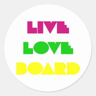 BoardChick Live Love Board Classic Round Sticker