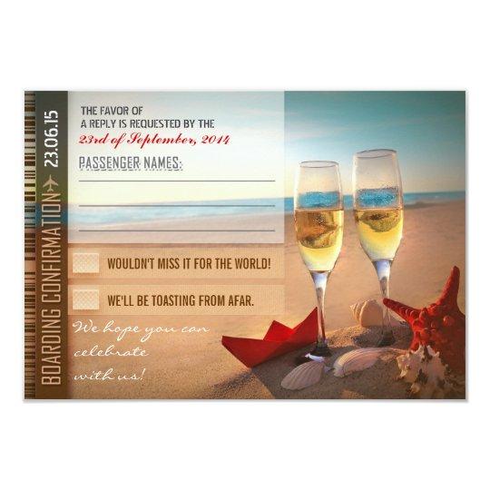 boarding confirmation wedding RSVP cards - tickets