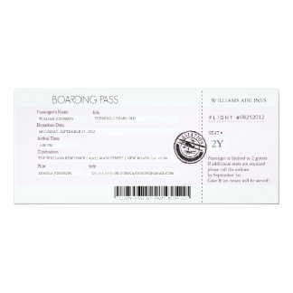 Boarding Pass 10 Cm X 24 Cm Invitation Card