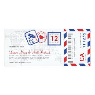 "Boarding Pass Airmail Ticket Invitation 4"" X 9.25"" Invitation Card"