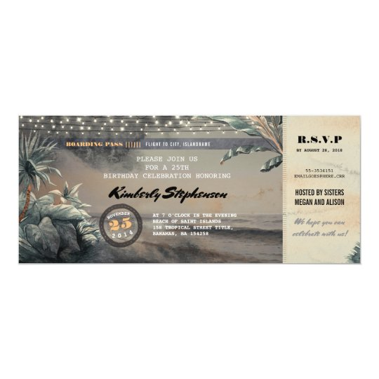 Boarding Pass Beach Lights Birthday Party Ticket Card