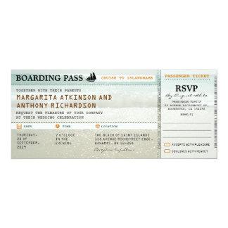 "boarding pass beach waves wedding invites & RSVP 4"" X 9.25"" Invitation Card"