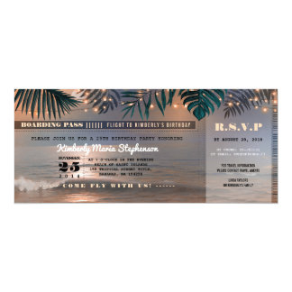 Boarding Pass Birthday Ticket | Beach Sunset Card