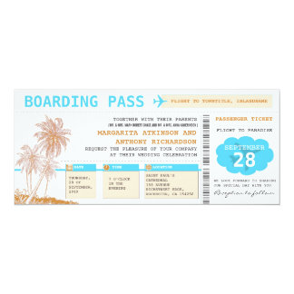 boarding pass destination wedding tickets 10 cm x 24 cm invitation card