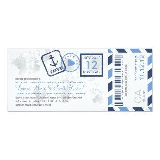 "Boarding Pass Nautical Airmail Ticket Invitation 4"" X 9.25"" Invitation Card"