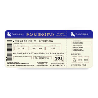 BOARDING PASS plane ticket invitation map (blue)