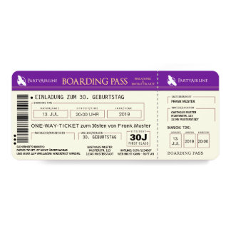 BOARDING PASS plane ticket invitation map (purple)