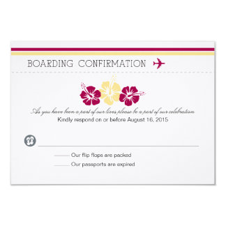 Boarding Pass RSVP Card to Portugal 9 Cm X 13 Cm Invitation Card