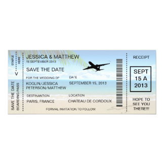Boarding Pass Save The Date Invitation Announcemen