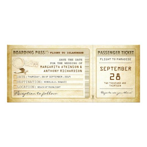 boarding pass save the date tickets with plane custom invitation
