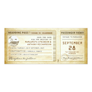 boarding pass save the date tickets with ship invitation