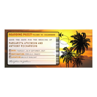 boarding pass save the date tickets with sunset personalized invite