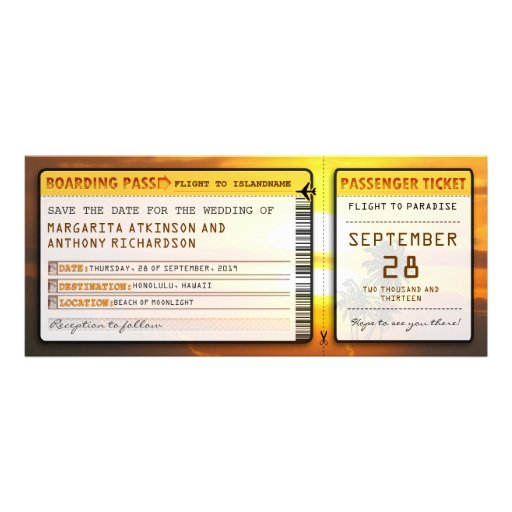 boarding pass save the date tickets with sunset custom invites