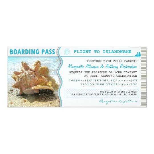 boarding pass ship boat ticket wedding invitations