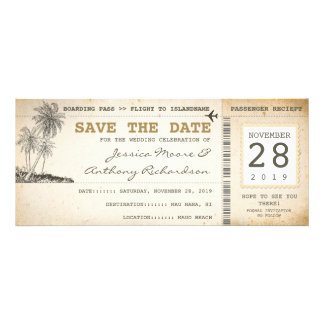 boarding pass tickets for save the date custom announcement