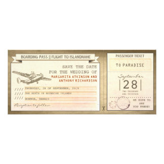 boarding pass tickets -vintage save the date personalised invitation