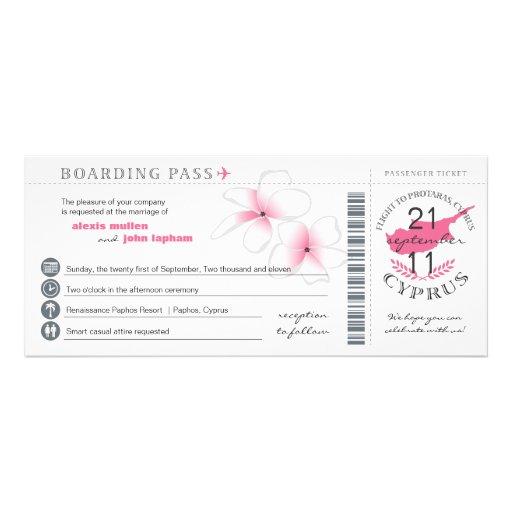 Boarding Pass to Cyprus Wedding Invitation