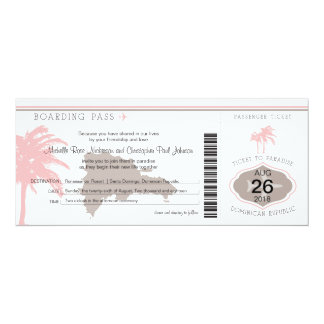 Boarding Pass to Dominican Republic Brown & Pink Card