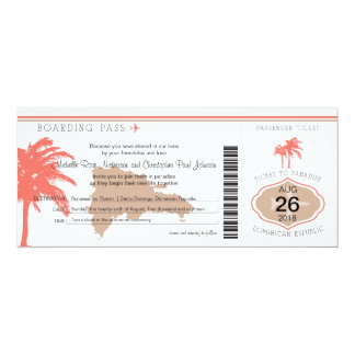 Boarding Pass to Dominican Republic Wedding Card