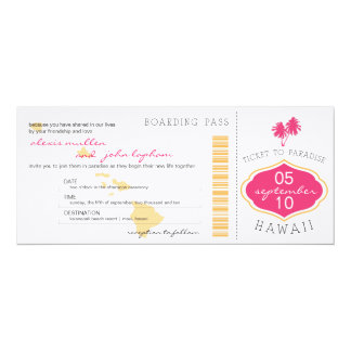 Boarding Pass to Hawaii Wedding Invitation
