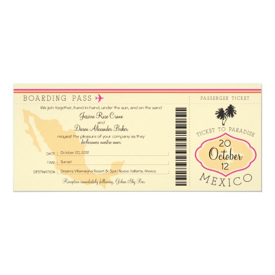 Boarding Pass to Mexico Wedding Invitation