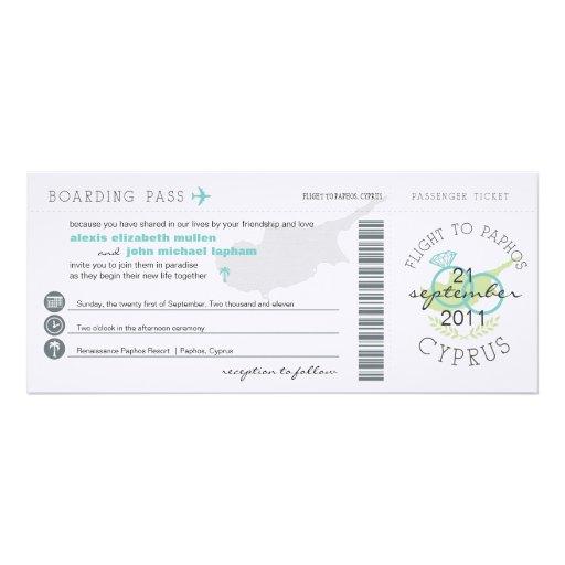 Boarding Pass to Paphos Cyprus Wedding Invitation