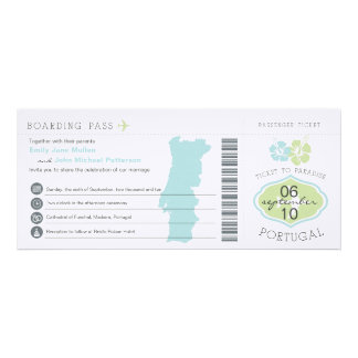Boarding Pass to Portugal Wedding Invitation