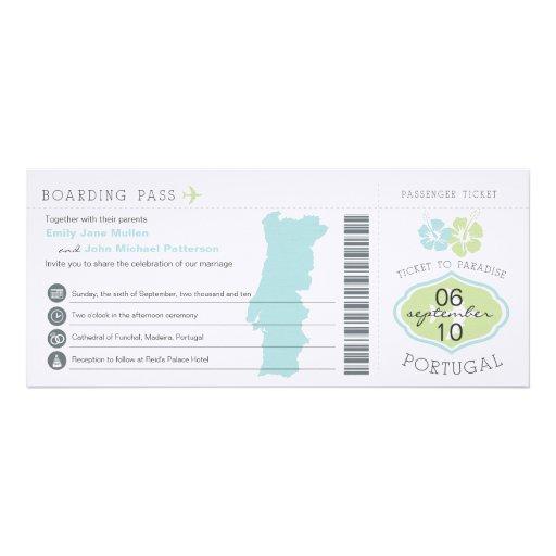 Boarding Pass to Portugal Wedding Invitation