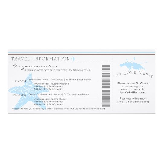 Boarding Pass to St. Thomas Wedding Travel Info