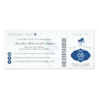 Boarding Pass to Thailand Save the Date 10 Cm X 24 Cm Invitation Card