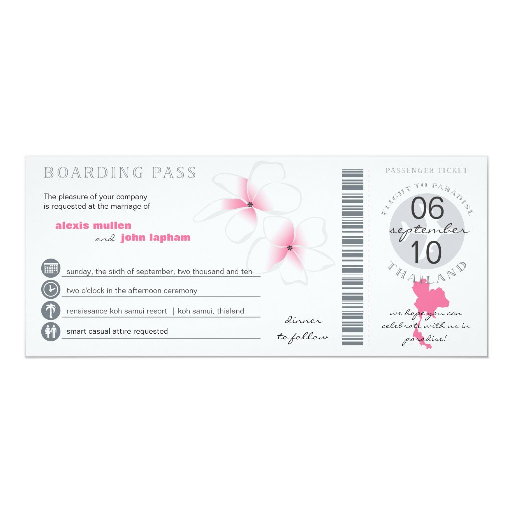 Boarding Pass to Thailand Wedding Invitation