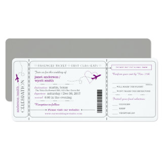 Boarding Pass Travel Ticket Wedding Invitation