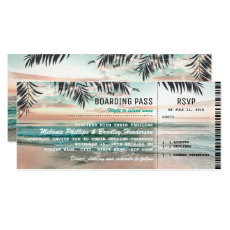 Boarding Pass Tropical Beach Wedding Tickets RSVP
