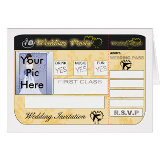 Boarding Pass  Wedding Invitation To Customise Greeting Card