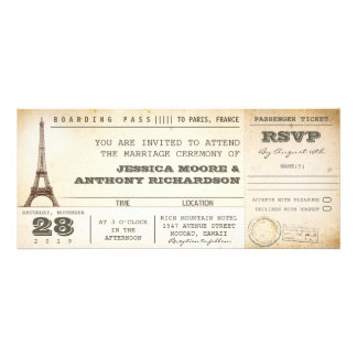 boarding pass wedding tickets- invitations PARIS