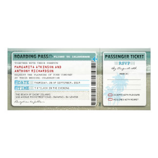 boarding pass wedding tickets-invites with rsvp