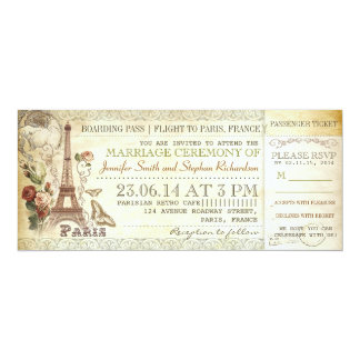 boarding pass wedding tickets to PARIS Card