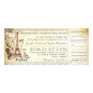 boarding pass wedding tickets to PARIS Announcements