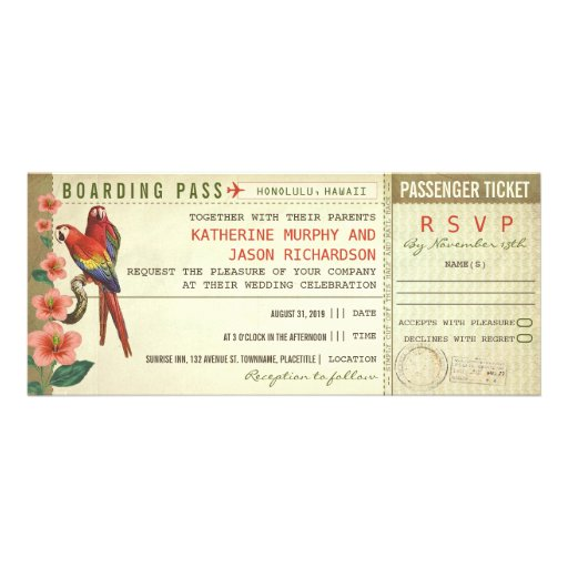 boarding pass wedding tickets with rsvp custom invitations
