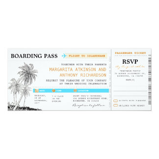 boarding pass wedding tickets with RSVP together Card